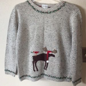 Coldwater creek moose Christmas sweater large